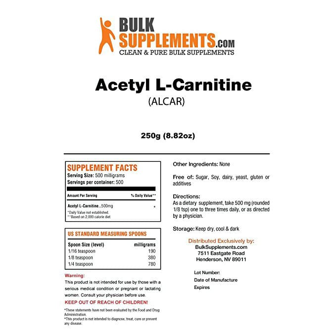 Acetyl L Carnitine Pure Alcar Powder New York